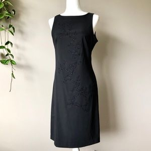 CDC black sleeveless sheath dress with beading 6